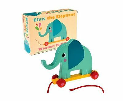 Brand New Rex London Elvis the Elephant Wooden Activity Pull Toy Toddler Baby