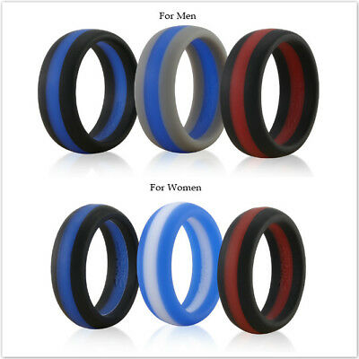 Siliringz Silicone Wedding Ring for Men, Stripes Series Rubber Band, Pack of 3