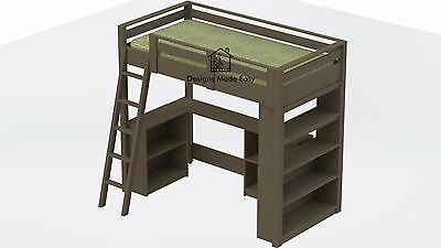 Easy DIY Kids Loft Bed with Desk and Bookcases - Design Plans