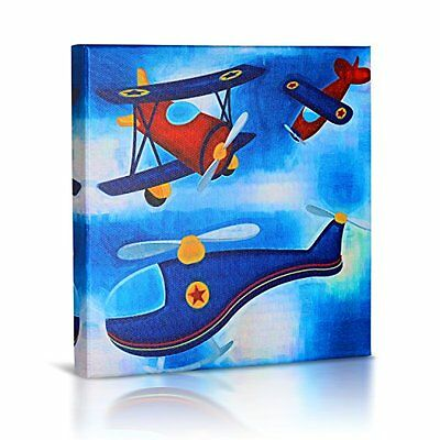 Framed Cute Helicopter Airplane Picture Wall Art Canvas Print Home Nursery Decor