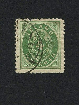 """ICELAND 1873 4Sk  Official """"Numeral""""- Used S#O3"""