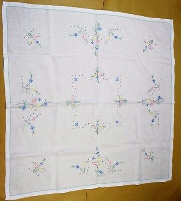 Vintage Linen Hand Embroidered Table Cloth
