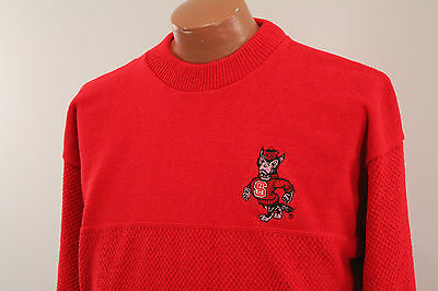 Vtg NCSU Sweater : Men's Large L - 80s 90s Wolfpack Red Nutmeg North Carolina