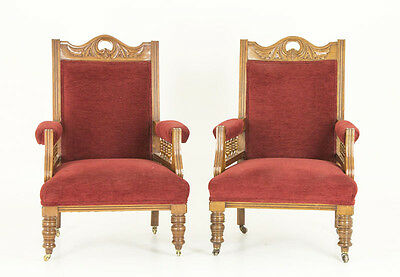 Antique Chairs | Victorian Walnut Upholstered Library Arm Chairs | B700