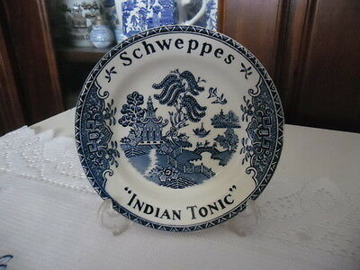 Blue Willow Schweppes Advertising Tips Dish Indian Tonic With Stand