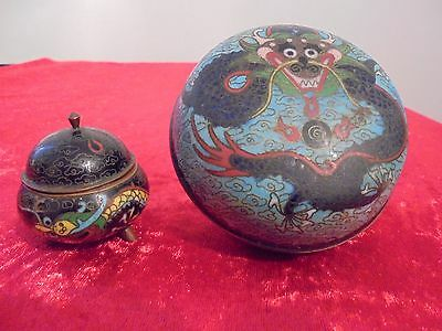Rare Antique Imperial 5 Claw Dragon Chinese Cloisonne Enamel Jar & Incense Pot