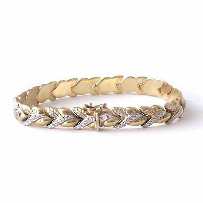 Two-Tone 10K Yellow Gold White Pave Link Bracelet, 8mm wide, 8.1 g