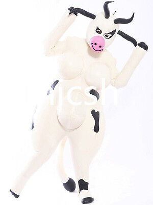 Latex Rubber White and Black Inflatable Cows Cute Suit Bodysuit Size XS~XXL