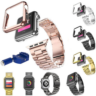 Stainless Steel Strap Watch Band+Case Cover+Tool For Apple Watch iWatch Series 2