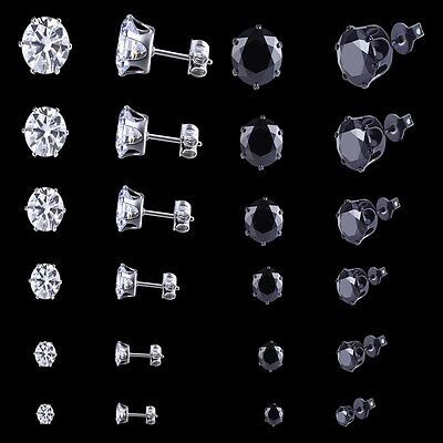Men Women Stainless Steel Black Round Cubic Zirconia Ear Studs Earrings 3mm-8mm