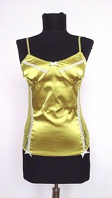Tally Weijl Lime Green Top Lingerie Lounge Cami Camisole Lace Satin Size XS