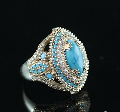 Turkish Handmade Turquoise Topaz Sterling Silver 925K Ring Size 7,8,9,10