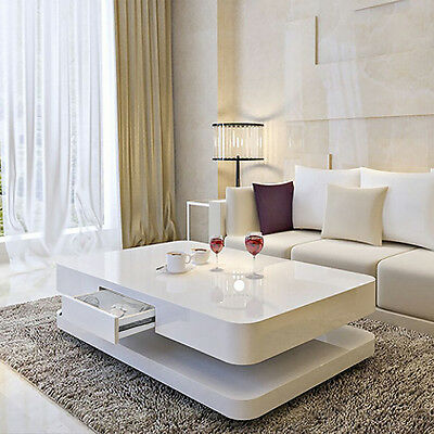 White High Gloss Coffee Table TV Stand Cabinet, Tempered Glass Top Living Room
