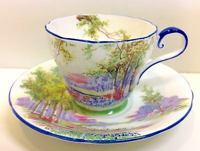 "Aynsley ""Riverside"" Pattern Coffee Cup & Saucer."