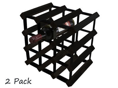 WA Stock 1 twin packs wooden wine holds 12 bottles each rack black