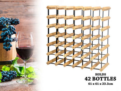 WA Stock 1 wooden wine rack holds 42 bottles natural wood colour