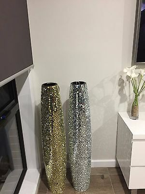 100cm tall mosaic vase mirror glass tiles with LED branches