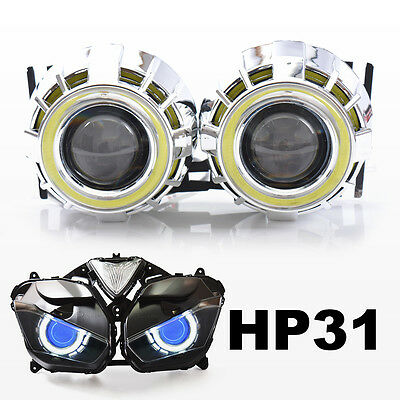 KT LED Angel Halo Eye HID Projector Lens for Yamaha YZF R3 2015+  Headlight Blue