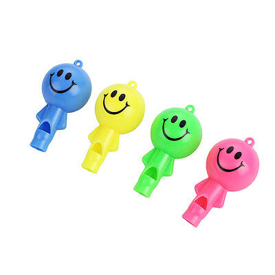 12PCS Smile face Whistle with String Kids happy birthday party supply gift favor