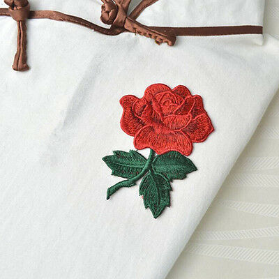 2pc Rose Flower Embroidery Sew On Applique Patch Clothing Sticker Sewing Craft