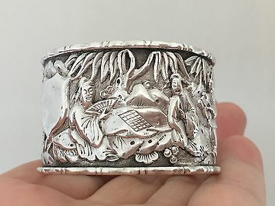 Antique Chinese Solid Silver Napkin Ring By WANG HING