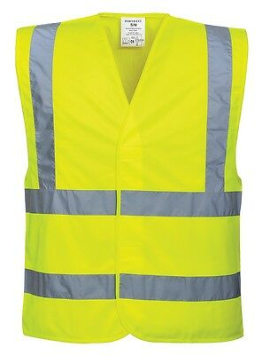 Adult High Vis Safety Vest - L/XL - Yellow with Two Band Reflective Strips