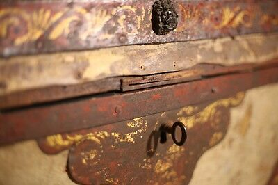 RARE 19th Century Painted Pony Hide trunk