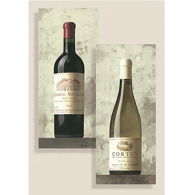 French Wines Glass Panel Wall Art Set of 2 panels Bordeaux and Cote de Beaune.