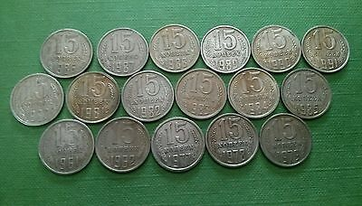 USSR Soviet Russia 15 Kopeks 1961,1962,1977-1991 Cup-Ni Lot of 17 coins