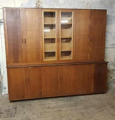 Vintage Industrial School Office Science Lab Oak Glazed Bookcase Cabinet