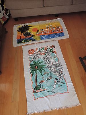 Vintage Florida Beach Towel Myrtle Beach Water Ski Fishing & More (e456)