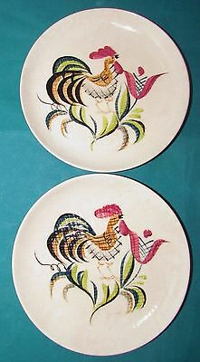 "TWO ROOSTER Bread & Butter Plates ORIENT WARE JAPAN ""Lissa 125""  Hand Painted"