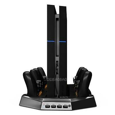 Vertical Charge Stand Dual Cooler Fans For PS4 Playstation 4 Console control