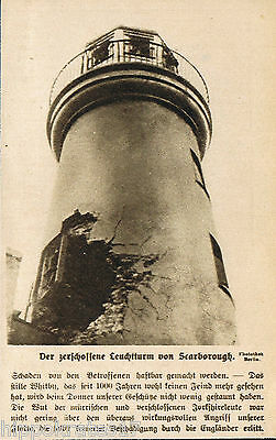Scarborough der zerschossene Leuchtturm 1915 WW1 the battered lighthouse (20)