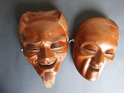 Antique  2x  Chinese Asian Carved  Wood Face Masks  Wise Man Vintage 1900's