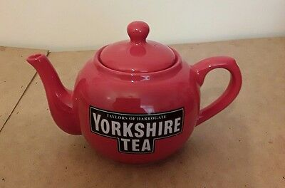Taylors Of Harrogate Red Ceramic Yorkshire Tea Teapot - Excellent Condition