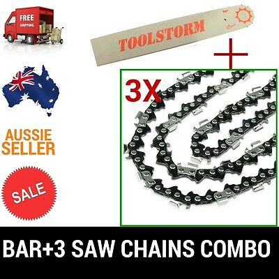 "18"" BAR AND 3 CHAINS COMBO FOR Husqvarna CHAINSAW 3/8 058 68DL - 455 460 RANCHER"