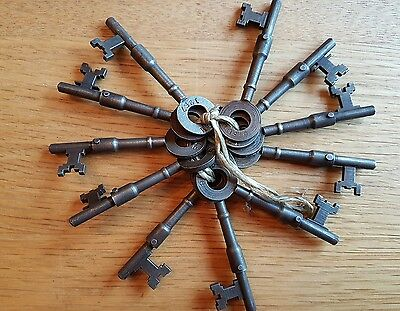 "RARE Old Group Of 11 Antique Vintage Keys | 3"" Numbered SUB Keys Ref M21"