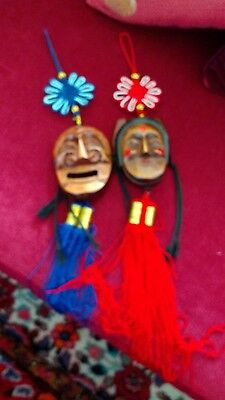 wooden carved husband and wife heads Chinese