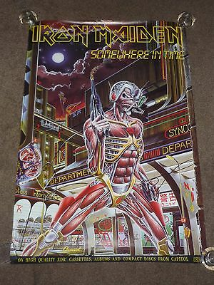 """Iron Maiden """"Somewhere In Time"""" 1986 US Capitol Records Promo Poster"""