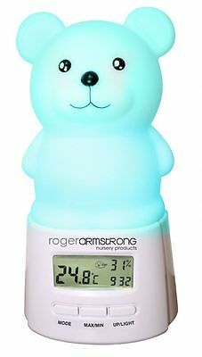 Teddy Colour Changing Thermometer Night Light | Babies Kids Bedroom Clock Sleep