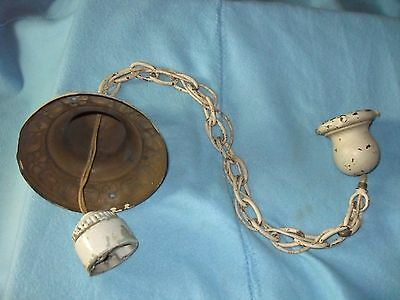 Vintage Antique Brass Hanging Light with Chain porcelain Plug Architectural