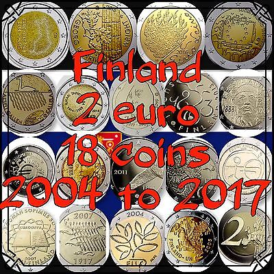 Finland 🇫🇮 2 Euro 18 Coins Commemorative 2004 To 2017 New BUNC from Rolls