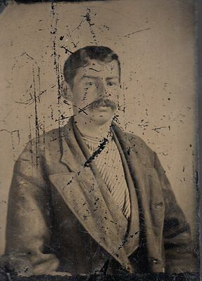 Tintype Photo of Man Great Clothing Hair and Mustache