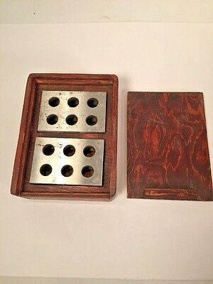 Set 2 Vintage Precision Machinist Milling Blocks 1-2-3 Wood Case