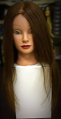 NEW 100% Real Long Hair Training Head Mannequin Hairdressing Practice + Clamp UK