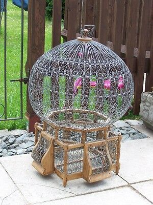 Vintage Antique Eastern Style Bird Cage Wire Wood Metal  Stunning