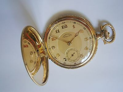 ANTIQUE OLD POCKET WATCH SWISS 585 GOLD 14K - ETERNA - Chronometre 3 Covers RARE