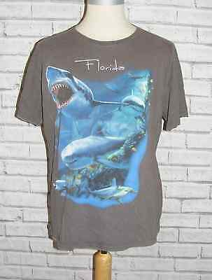 Size L vintage 90s USA Florida sea/sharks short sleeve t-shirt dark grey (HZ24)