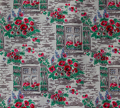 vintage 1950s windows & poppies print cotton barkcloth fabric